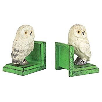 Design Toscano Wise Snowy Owl Cast Iron Sculptural Bookend Pair