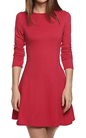 Meaneor Women's Long Sleeve Casual Slim Fit Flare Pleated Round Neckline Dress (M, Red)