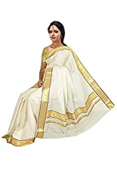 Atex Cotton Saree with Blouse (5176_Ivory)