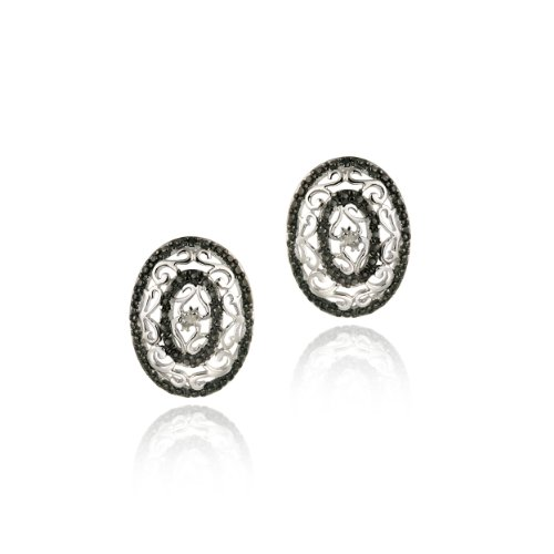 Sterling Silver Black & White Diamond Accent Oval Filigree Earrings