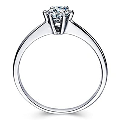 "MARENJA Silver Gifts for Women-The Wedding & Engagement Collection! Women's 925 Sterling Silver rings with transparent stone zirconia ""Eternity"" 18K white gold plated super glamorous"