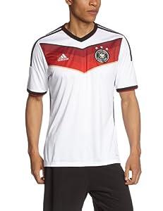 adidas Herren Kurzärmliges Fußballtrikot Dfb Home Jersey, White/Black/Victory Red/Matte Silver, M, G87445