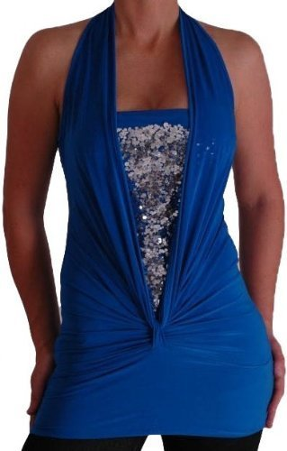 Bella Slinky Stretch Glitter Halter Neck Fashion Top
