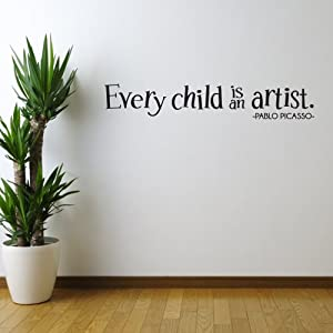 Every Child Is An Artist Quote Pablo Picasso Vinyl Wall