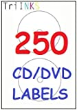 TriINKs - Neato CD/DVD LABELS - 250 SELF ADHESIVE LABELS SUITABLE FOR INKJET/LASER PRINTERS. IN PACK OF 125 x A4 SHEETS - EACH WITH 2 LABELS (250 TOTAL) WITH 41 mm CENTER