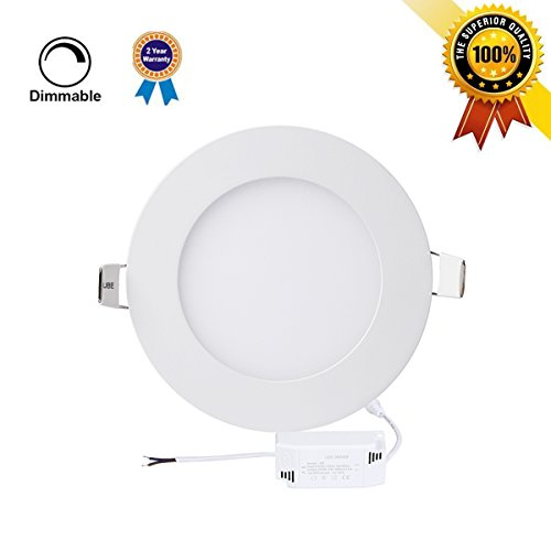 P&B Lighting 12W Dimmable Round LED Panel Light Lamp, Ultra-thin Recessed Ceiling Light, 80W Incandescent Equivalent, 960lm, Neutral White 4000K, Cut Hole 6.1 Inch, Downlight with 110V LED Driver (Led Light Panel Ceiling compare prices)
