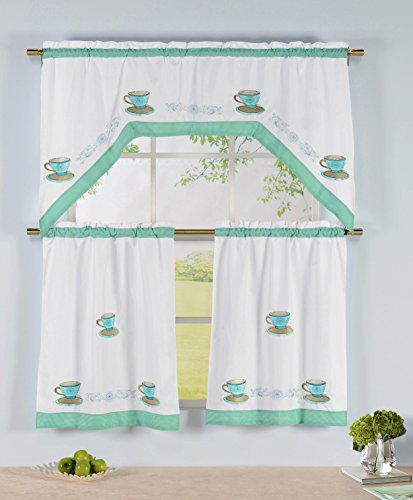 Window Elements 3 Embroidered Kitchen Tier and Swag Valance Set, Tea Time (Kitchen Elements compare prices)