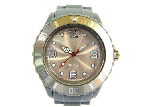 STYLEBOX24 BUNTE SILIKON UHR XXL WATCH GRAU GRAUE GUMMI BIG FACE ARMBANDUHR DAMENUHR HERRENUHR JELLY NEON FARBIGE