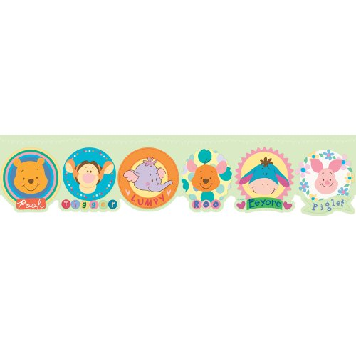 Imperial Disney Home DF059173D Winnie the Pooh and friends Die-cut Border, Pastel Green, 6.83-Inch Wide - 1