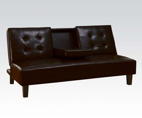 Acme 05641A Barron Adjustable Sofa With Cup Holder, Espresso Bycast Finish front-907680