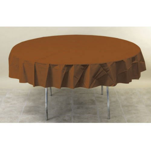 "Amscan Disposable Round Plastic Table Fits 7' Tables, 84"", Chocolate Brown"