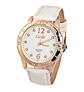CaiQi Women Watch White Leather Band Wrist Watch 593A