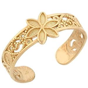 14k Solid Yellow Gold Flower Filigree Toe Ring