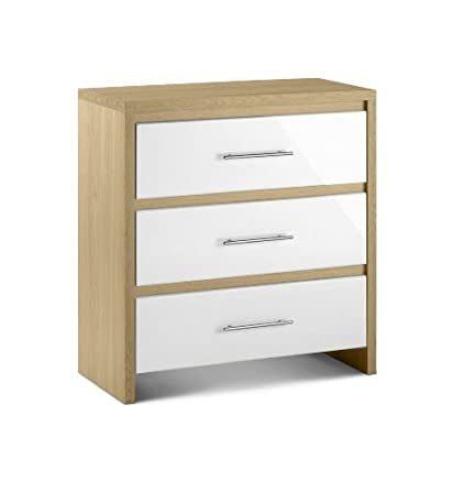 Julian Bowen Stockholm 3 Drawer Chest, Oak/White Gloss by Julian Bowen