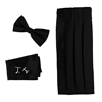 Black Bow Tie Hanky Cufflinks Set Discount Gift Pre-tied Tie and Cummerbund with Box Cm1011  Black