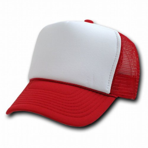 ... Shipping RED AND WHITE MESH TRUCKER STYLE CAP HAT CAPS HATS ADJUSTABLE