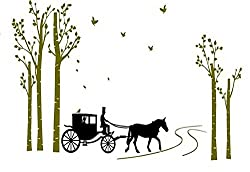 Asmi Collection Pvc Wall Stickers Beautiful Carriage Tree Birds