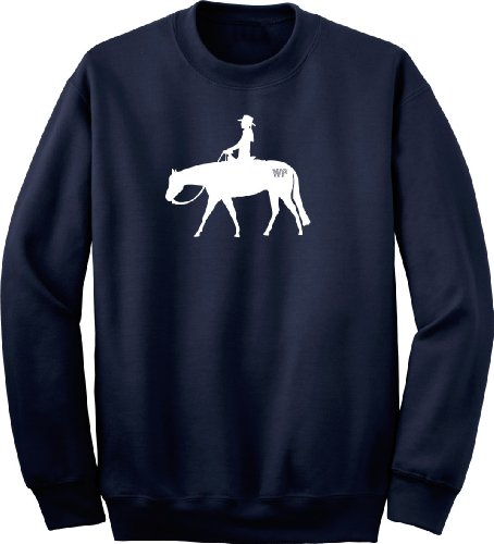 Western Pleasure Brand Horse & Rider Navy Blue Sweatshirt, Medium back-216501