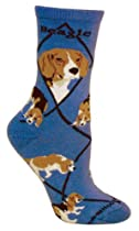 Wheel House Designs Beagle Dog Blue Cotton Ladies (9-11) Socks