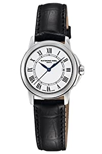 Raymond Weil Women's 5376-STC-00300 Tradition Stainless Steel Case Black Leather Strap with Crocodile Pattern Watch by Raymond Weil