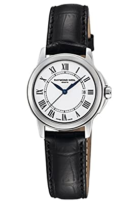 Raymond Weil Women's 5376-STC-00300 Tradition Stainless Steel Case Black Leather Strap with Crocodile Pattern Watch