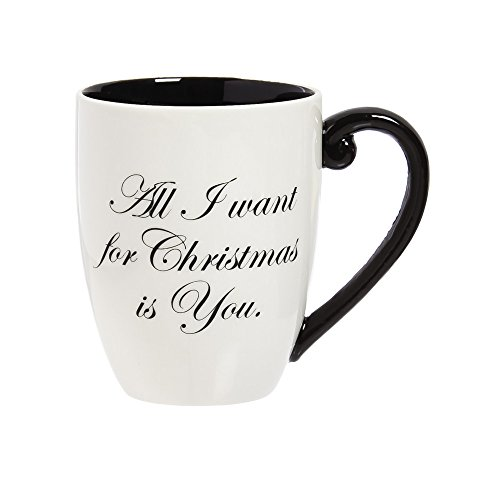 Cypress Home Ceramic All I Want for Christmas Black Ink Cup O'Joe, 18 ounces (Cup O Joe compare prices)