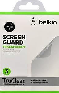 Belkin F8W179cw3 Pack de 3 films de protection ecran transparent pour iPhone 5, iPhone 5S et iPhone 5c