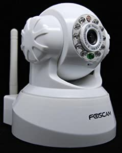 Wireless IP Camera with Pan & Tilt, Night Vision, 2 Way Audio, Apple Mac and Windows compatible. Color - White