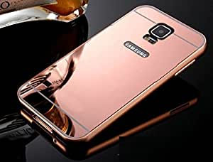 Dashmesh Shopping Branded Luxury Metal Bumper Acrylic Mirror Back Case For Samsung Galaxy S5 - ROSE GOLD Plated