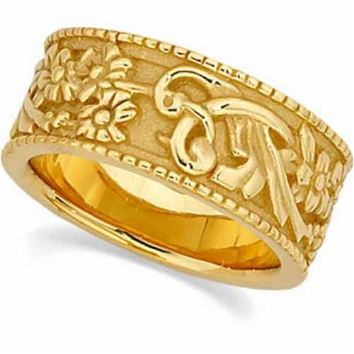 14K Yellow Gold Floral Design Wedding Gold Band