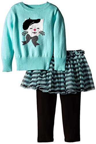 Bonnie Baby Baby-Girls Infant Cat Intarsia Sweater Legging and Skirt Set, Aqua, 24 Months