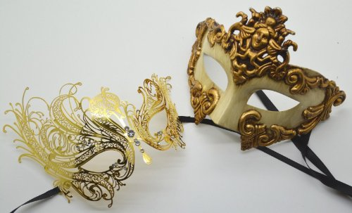 Roman Greek God Goddess Set - His & Hers Exotic Masquerade Masks Antique Gold