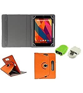 Gadget Decor (TM) PU Leather Rotating 360° Flip Case Cover With Stand For datawind ubislate 3G7Z + Free Robot USB On-The-Go OTG Reader - Orange