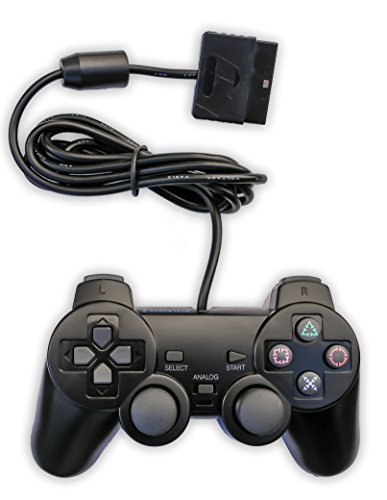 Old Skool PS2 Analog Controller Dual Shock for Sony PlayStation 2, Black