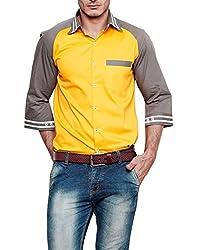 Dazzio Men's Slim Fit Cotton Casual Shirt (DZSH0908_Yellow_40)