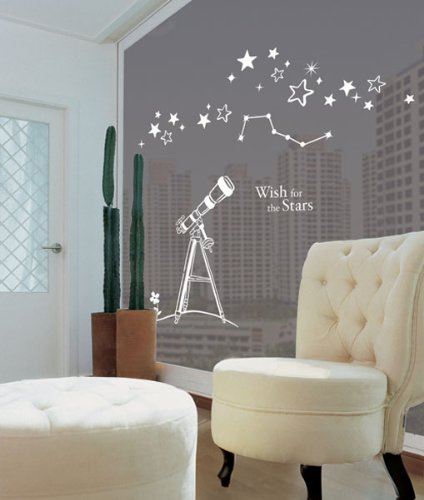 Wall Decoration Graphic Vinyl Sticker [Telescope-Lgwst-03-White] Creates More Accent On Room Walls & Windows.