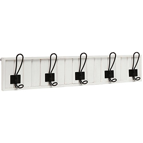 Decorative wall mounted white wood 5 black metal dual for White wall hook rack