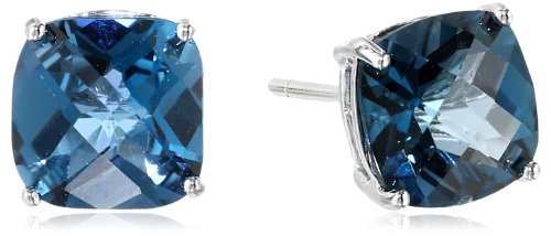 Sterling Silver Checkerboard Cushion London Blue Topaz Stud Earrings
