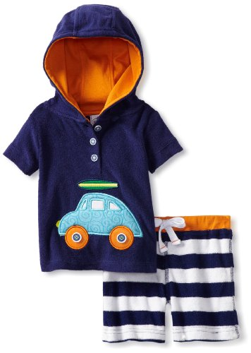 Mud Pie Baby-Boys Newborn Terry Pullover Knit Shorts Set, Multi, 12-18 Months front-1029981