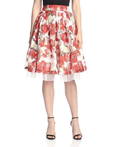 Gracia Women's Rose Print Flare Skirt