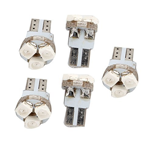 Water & Wood 5 Pcs Car T5 Red 1210 3528 3 Smd Led Dashborad Light Map Lamp Internal With Car Cleaning Cloth