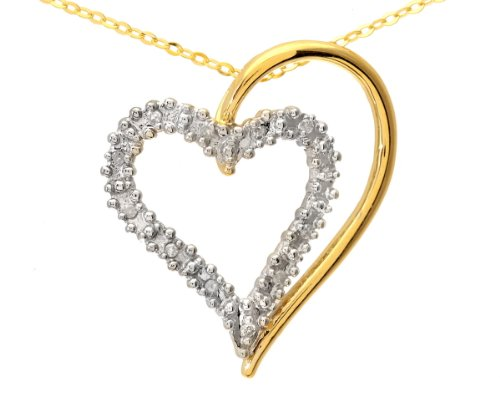 Ladies' Diamond Heart Pendant Necklace, Prong Set, 9ct Yellow Gold Trace Chain, 46cm Length, 0.06 Carat Diamond Weight, Model PP3175Y (DP1321)