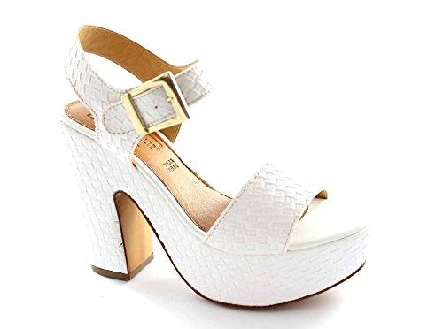 DIVINE FOLLIE 04-4041 bianco sandali donna tacco plateaux cinturino 37