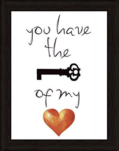 Bild mit Rahmen Kunstdruck Bilder Artland Schrift Jule: Schlüssel für mein Herz in verschiedenen Größen Riesenauswahl in unsrem Händlershop!
