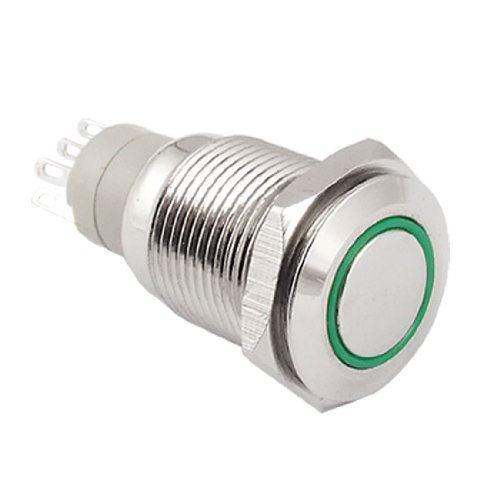 Amico Angel Eye Green Led 16Mm Stainless Steel Switch Latching Push Button 5 Pin