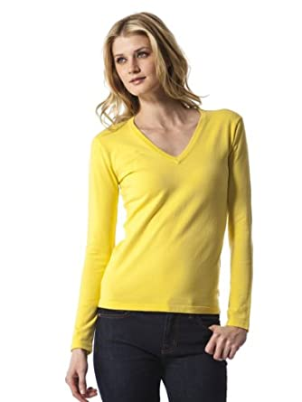 525 America Womens Long Sleeve V Neck Sweater - Yellow Fin - Large