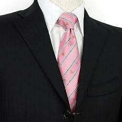 カクレクマノミ柄 ネクタイ ストライプ/ピンク【COLORATA 生物・動物柄ネクタイ】
