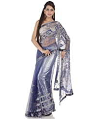 Chhabra555 Blue Net One Minute Saree - B00J4RP8VG