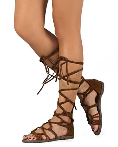 Breckelles DG23 Women Suede Knotted Peep Toe Lace Up Wrap Gladiator Flat Sandal, Tan, 8