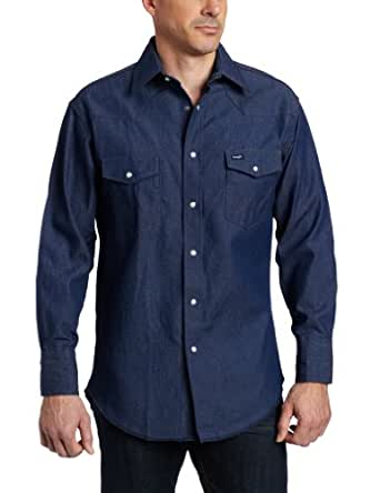 Wrangler Men's Authentic Cowboy Cut Work Western Long Sleeve Shirt,Blue,14 1/2 32